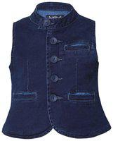 Tales & Stories Boy Denim Solid Sherwani - Blue