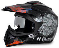 Vega Off Road DV Gangster Full Face Helmet Black And Orange (1 Piece)