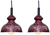 Design Villa Brown Color Fish Design Iron Pendant Ceiling Hanging Lamp ( pack of 2 )