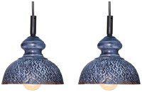 Design Villa Grey Color Geometric Design Iron Pendant Ceiling Hanging Lamp ( pack of 2 )