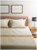 Raymond White Cotton Double Bedsheet With 4 Pillow Covers