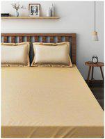 Raymond Beige Cotton Double Bedsheet With 2 Pillow Covers