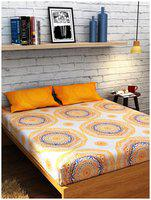 Raymond Orange Double Bedsheet 2 Pillow Cover