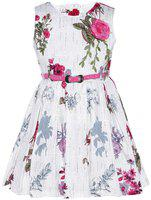 Punkster Multicolored Cotton Knee Length A-Line Dress for Girls Pink