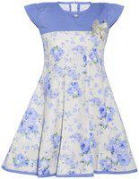 Punkster Girls Midi/Knee Length Casual Dress(Multicolor, Cap Sleeve)