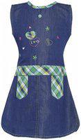 Punkster Multicolored Cotton Knee Length A-line Dress For Girls 26019-16