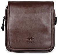 The Clownfish Leatherette Tablet Sling Bag / Messenger Bag (Brown)