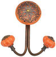 Casa Decor Ceramic Filigree Wall Hook Cabinet , Bathroom Towel , Hat, Key, Clothes Holder Orange with Bronze Accent
