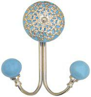 Casa Decor Ceramic Filigree Wall Hook Cabinet , Bathroom Towel , Hat, Key, Clothes Holder Cyan with Silver Accent
