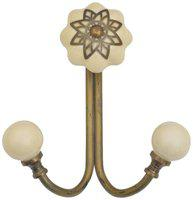 Casa Decor Ceramic Filigree Wall Hook Cabinet , Bathroom Towel , Hat, Key, Clothes Holder White with Silver Accent