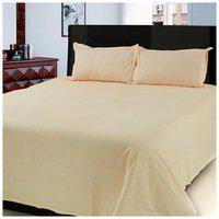 First Row Orange Solid Cotton Double Bedsheet