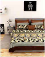 First Row Multicolor Contemporary Print Bedsheet with Two Pillow Cover