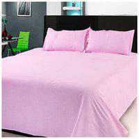 First Row Pink Solid Cotton Double Bedsheet