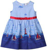 Beebay Baby girl Cotton Solid Princess frock - Blue