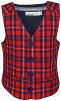 ShopperTree Boy Cotton Checked Kurta pyjama set - Red