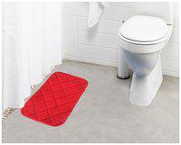 Lushomes Red Super soft memory foam bathmat ( Bathmat Size 12x 20;Single pc)