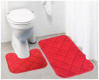Lushomes Red Super soft memory foam bathmat Set ( Bathmat Size 16x 24 plus Contour Set 16x16;Two Pc Set)
