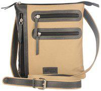 Justanned Beige Canvas Messenger bag