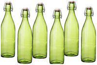 Treo 1000 ml Glass Green Water Bottles - Set of 6