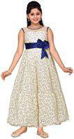 Adiva Indi Girls Maxi/Full Length Party Dress(White, Sleeveless)