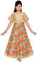 Adiva Girls Maxi/Full Length Party Dress(Beige, Sleeveless)