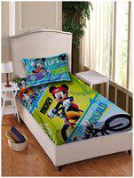 Disney Cotton Printed Single Size Bedsheet 180 TC ( 1 Bedsheet With 1 Pillow Covers , Green )