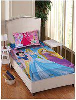 Disney Cotton Printed Single Size Bedsheet 180 TC ( 1 Bedsheet With 1 Pillow Covers , Blue )