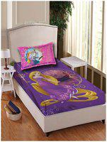 Disney Cotton Printed Single Size Bedsheet 180 TC ( 1 Bedsheet With 1 Pillow Covers , Purple )
