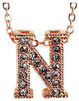 Valentine Gifts :YouBella Jewellery Alphabet Letter N Unisex Pendant / Necklace for Women/Girls/Boys/Men (Gold)