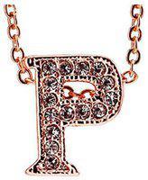 Valentine Gifts :YouBella Jewellery Alphabet Letter P Unisex Pendant / Necklace for Women/Girls/Boys/Men (Gold)