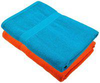 Bath Towel 450 GSM Cotton Fabric (Size -27 x 54) 2 Piece - Orange and Sky Blue Color By Fresh From Loom