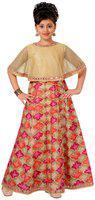 Adiva Girl's Silk blend Embellished Short sleeves Gown - Beige