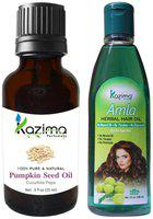 Kazima Combo Of Pumpkin Seed Oil 15ml And Amla Herbal Hair Oil 100ml (Pack of 2)