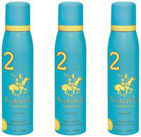 Beverly Hills Polo Club Deodorant Spray No 2 (Pack Of 3) For Women (450 ml)