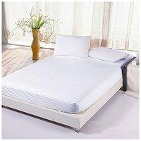 The Intellect Bazaar Satin Striped King Size Bedsheet 200 TC ( 1 Bedsheet With 2 Pillow Covers , White )