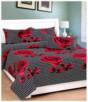 The Intellect Bazaar 160 TC Cotton Fitted elastic Bedsheet with 2 Pillow Covers