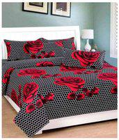 The Intellect Bazaar Cotton Printed Single Size Bedsheet 160 TC ( 1 Bedsheet With 1 Pillow Covers , Black )