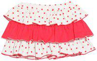 Nino Bambino 100% Pure Organic Cotton Elastic Waist Knee Length Layered Red & White Polka Dotted Baby Girls Skirt