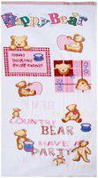 Bath Essentials, Cotton Teddy Printed, (Set of 4), 2 Bath 2 Hand Towels, Colour-White pink