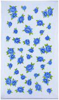 Bath Essentials, Cotton Flower Printed Towels, (Set of 4), 2 Bath 2 Hand Towels, Colour-White Blue.