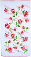 Bath Essentials, Cotton Flower Printed Towels, (Set of 4), 2 Bath 2 Hand Towels, Colour- White Pink.