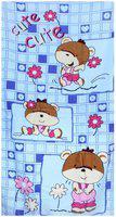 Bath Essentials,Cotton Cutie Printed Kids Towels, (Set of 4), 2 Bath & 2 Hand Towels , Colour- Sky Blue