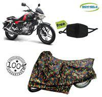 BigWheels Premium Quality Army Color Junglee Matty Bike Body Cover For Bajaj Vikrant V15 With Free Anti Dust / Pollution Protective Face Mask Mouth
