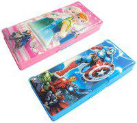 ASERA Frozen and Avengers Character Pencil Box Birthday Return Gift for Kids (Pack of 2 pcs)