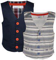 ShopperTree Boy Linen Solid Kurta pyjama set - Blue