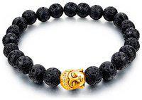 YouBella Fashion Jewellery Natural Healing Stones Divine Buddha Black Beads Fancy Stylish Bracelet for Men/Women/Boys/Girls (Gold)