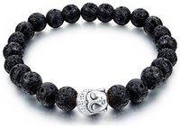 YouBella Fashion Jewellery Natural Healing Stones Divine Buddha Black Beads Fancy Stylish Bracelet for Men/Women/Boys/Girls (Silver)