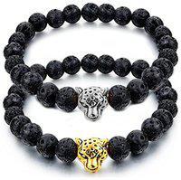 Youbella Stones Divine Black Beads And Leopard Bracelet For Men/Women/Boys/Girls (Combo)