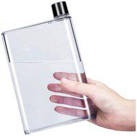 Portable A5 Memo H2O Flate Water Bottle Notebook Style Ultra Slim Water Bottle Memo Bottle - 420 ml
