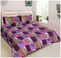 Spangle Microfibre Printed Double Size Bedsheet 104 TC ( 1 Bedsheet With 2 Pillow Covers , Purple )